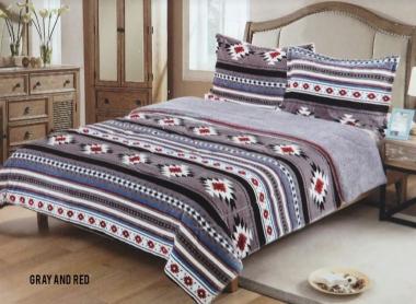 Showman Couture Borrego Southwest Design Queen Size 3 Pc Comforter Set  U003cbru003eWith Sherpa