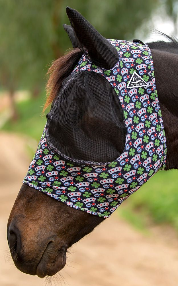 Professionals Choice Comfort Fit Lycra Fly Mask - Poker: Chicks Discount  Saddlery