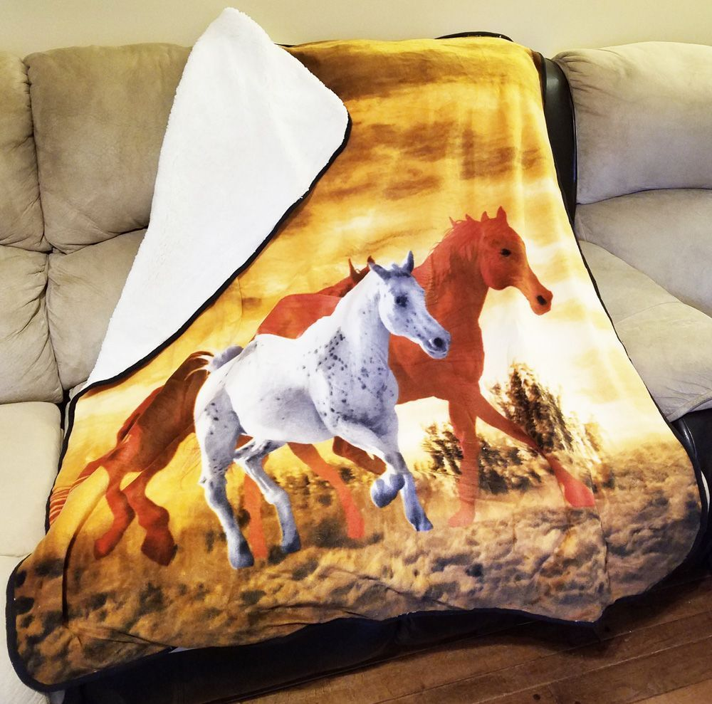 Trail Crest Soft Touch Sherpa Lined Horse Print Blanket