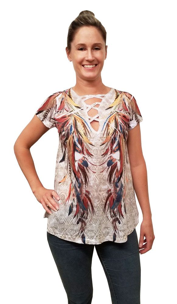 c730bf306b899 Colorful Feathers Crisscross Cap Sleeve Top - Ladies