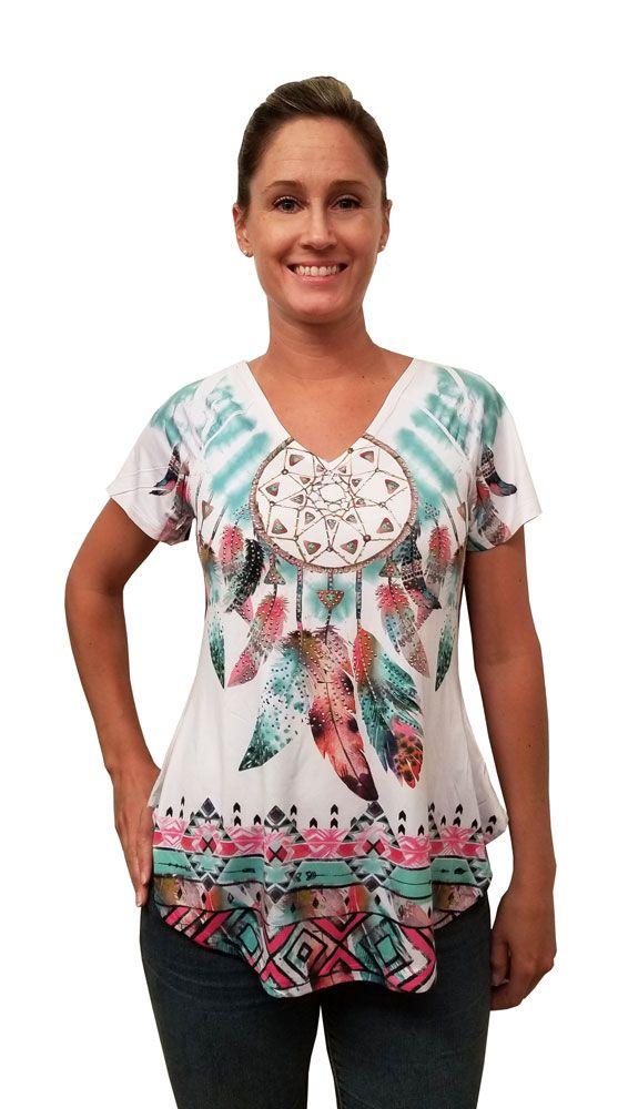 2d1a21a759b0e Dream Catcher Rhinestone Studded V-Neck Top - Ladies