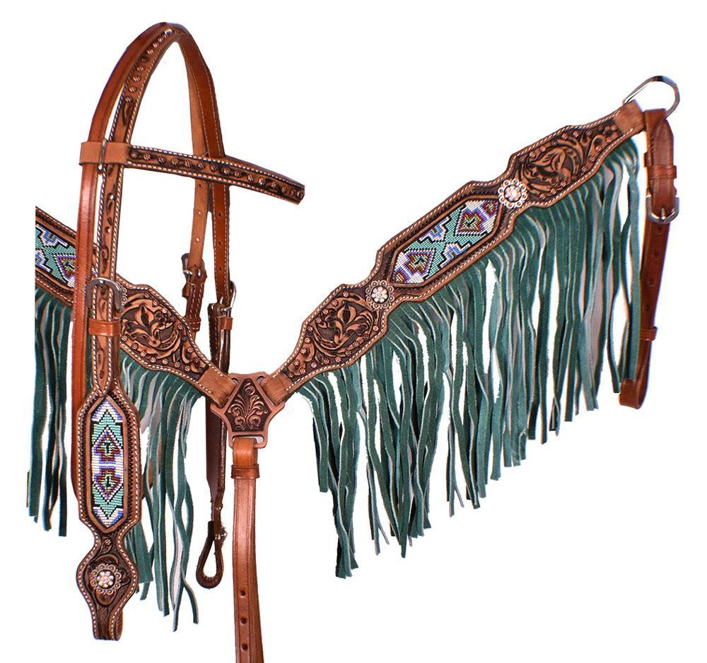 Showman MINI Horse Size FLORAL Tooled LEATHER Bridle Breast Collar /& Reins SET