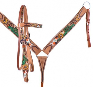 Showman Harness leather mule headstall