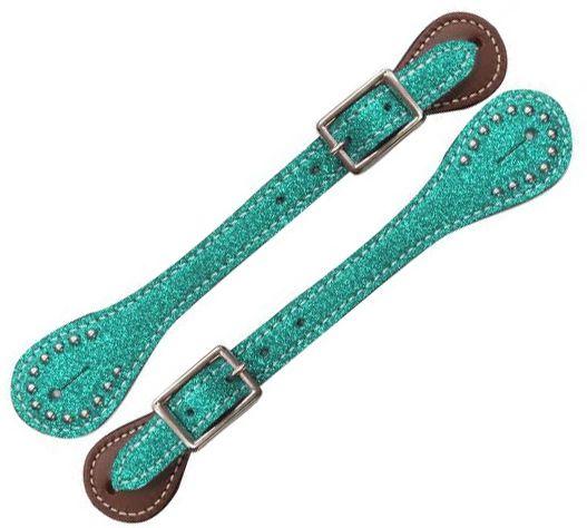 Teal Glitter Ladies Western Barrel Bumper Spurs /& Or Spur straps Gift Pack