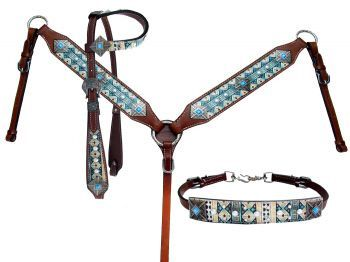 Showman MEDIUM OIL Leather PONY Wither Strap w// Silver Studs! NEW HORSE TACK!!