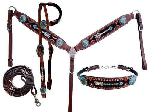 Showman Cut Out Hand Painted TEAL Feather Wither Strap NEW HORSE TACK!