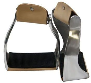 Heavy Duty Aluminum Stirrups Extra Wide Flat Bottom Leather Tread Polished Trim