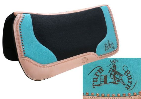 "Showman /""TURN N BURN/"" TEAL Painted Leather Feather Saddle Tie On w// Barrel Racer"