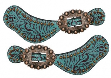 Ladies Teal Turquoise Leather Brown Filigree Copper Buckles Studs Spur Straps