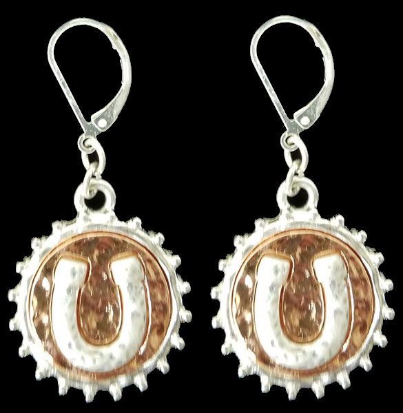 7270ef09577 Hammered Copper Circle with Silver Horse Shoe Stamped Earrings